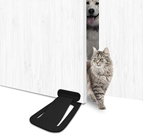 Cat deur luik - JEMACHE kat gemakkelijke toegang, voorkomen deur krijgen gesloten vinger Pinch Guard deurstop voor hond-proof houden Puppy uit vuilnisbak en kat feeder, Zwart