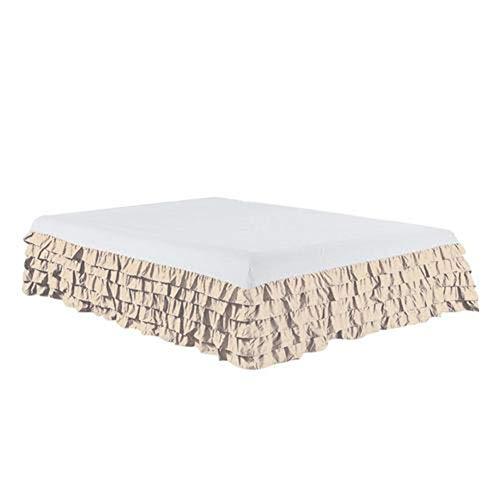 HNTKSM Bed Skirt Bed Base Cover Elastic-Bett-Rock mit Bettfläche Plissee Bett Röcke for Hauptdekoration for 1,8 bis 2 m Bett Möbel Ohne Pillowcase (Color : Natural)