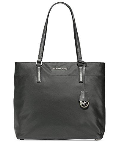 Michael Kors Womens Morgan Faux Leather Trim Nylon Tote Handbag Gray Large