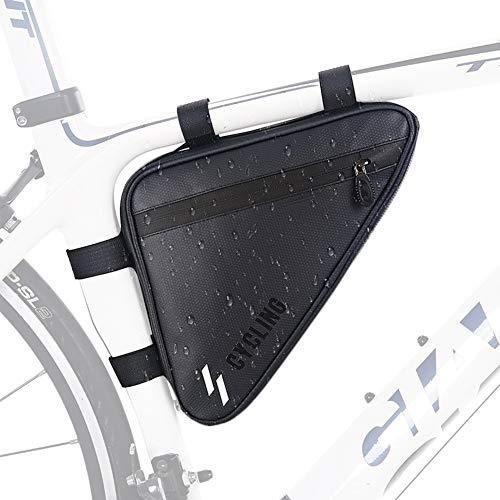 Achort Bolsa triangular para bicicleta, impermeable, con cremallera, diseño triangular, con correas reflectantes seguras, color negro