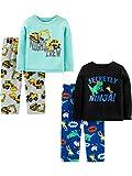 Simple Joys by Carter's Boys' Toddler 4-Piece Pajama Set (Poly Top & Fleece Bottom), Ninja/Construction, 4T