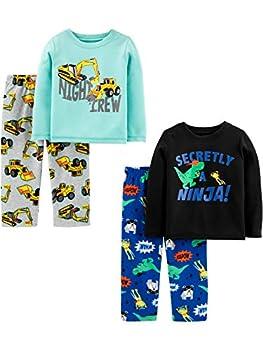 Simple Joys by Carter s Boys  Toddler 4-Piece Pajama Set  Poly Top & Fleece Bottom  Ninja/Construction 4T