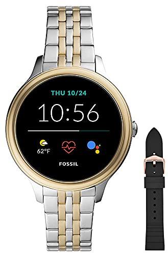 Fossil Smartwatch GEN 5E Connected da Donna con Wear OS by Google, Notifiche per Smartphone e NFC, con Cinturino in Acciaio Inossidabile Bicolore+Cinturino in Silicone per Orologio S221304, Nero