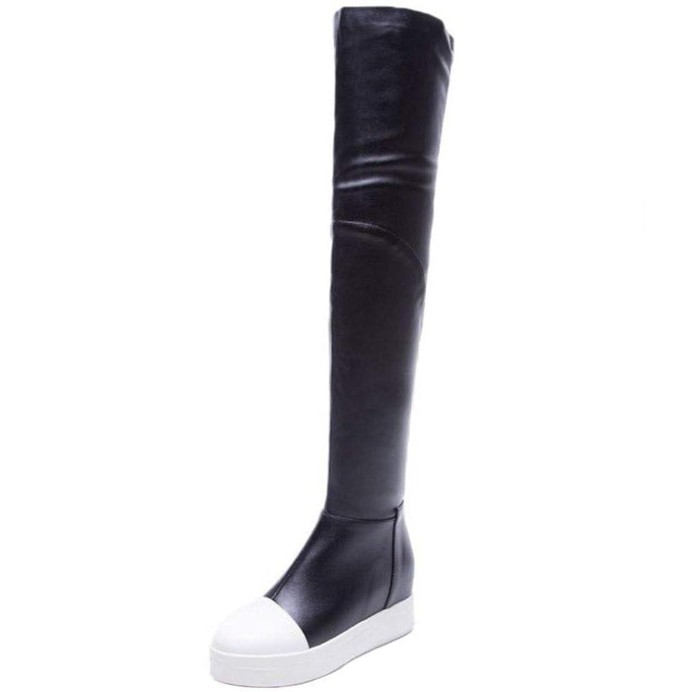 泥沼二住人[Unm] レディーズ ファッション ウェッジヒール 膝の上 ブーツ