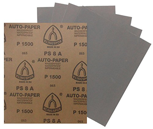 50er Premium Set Klingspor PS8A Auto-Paper Nassschleifpapier | 230 x 280 mm | wasserfest | Je 10 Blätter der Körnungen 180,240,320,500,1000