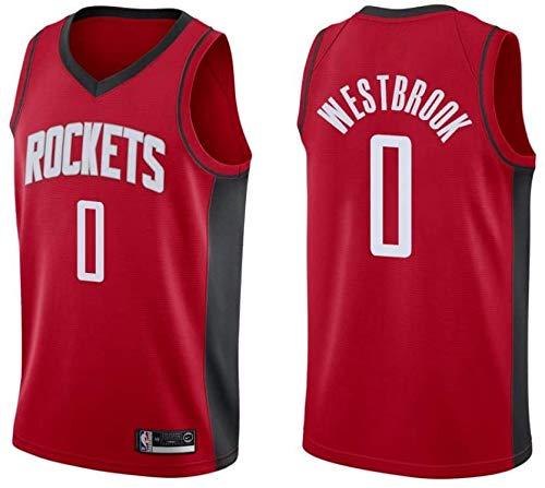 canottejerseyNBA Russell Westbrook - Houston Rockets #0, Basket Jersey Maglia Canotta, Swingman Ricamata, Abbigliamento Sportivo (L, Rosso Icon)