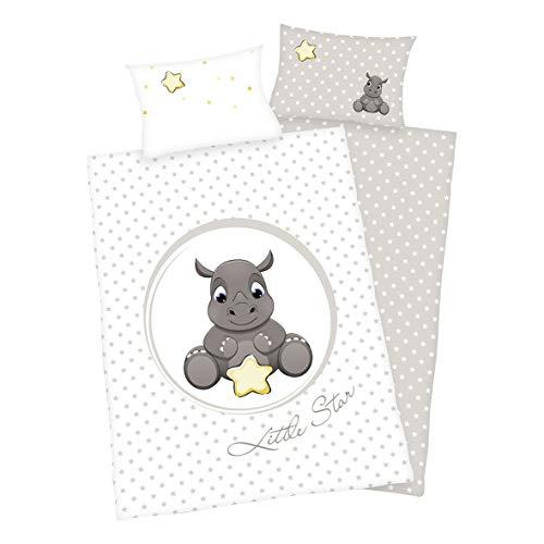 Conjunto de 3 piezas de ropa de cama infantil, reversible, diseño: rinoceronte. 100 x 135 cm, 40 x 60 cm, y sábana bajera ajustable de 70 x 140 cm, color blanco