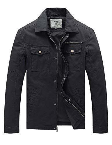WenVen Men's Military Cotton Work Wear Jacket (Grey,L)