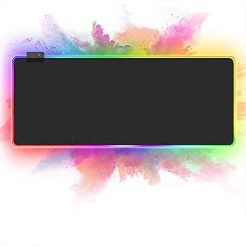 Starsea RGB Led Extended Gaming Mouse Pad 31.5 x 11.8 Inches - Large Soft Brightness Mouse Pad with 14 Lighting -Anti-Slip Rubber Base (Black)