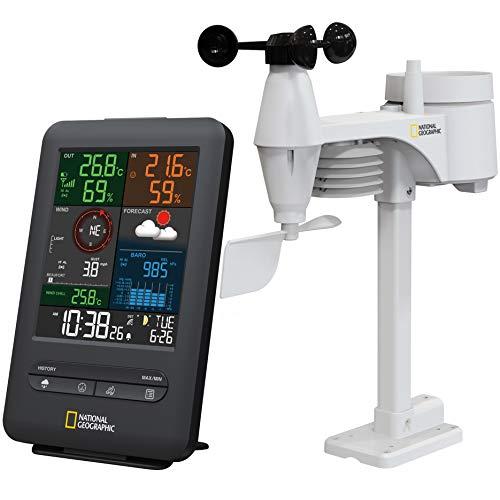 National Geographic Wetterstation Funk mit Außensensor Wetter Center 5-in-1 Colour mit Außensensor für Temperatur, Luftfeuchtigkeit, Luftdruck, Windmesser und Regenmesser, schwarz