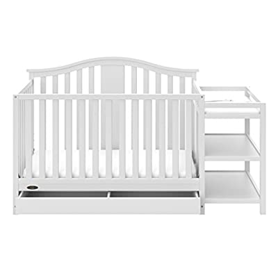 Graco Solano 4-in-1 Convertible Crib with Drawer and Changer (White) - JPMA-Certified Crib and Changer, Attached Changing Table with 2 Shelves, and Water-Resistant Changing Pad from Stork Craft