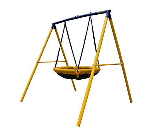 ZERO GRAVITY UFO Kids Birds Nest Swing Set With Sturdy Metal Frame. Garden Fun For Up To 2 Children