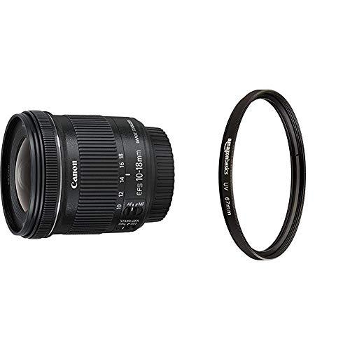 Canon Obiettivo Ultragrandangolare con Zoom, EF-S 10-18 mm f/4.5-5.6 IS STM, Stabilizzatore d'immagine, Nero/Antracite & Amazon Basics - Filtro di protezione UV - 67mm
