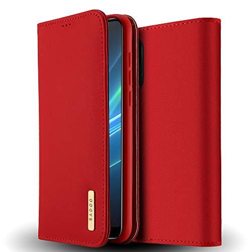 Radoo Huawei P20 Pro Hülle, Premium Echtes Leder Klapphülle Slim Lederhülle mit Standfunktion & Kartenfach TPU Innenraum Case Schlanke Ledertasche Handyhülle für Huawei P20 Pro (Rot)