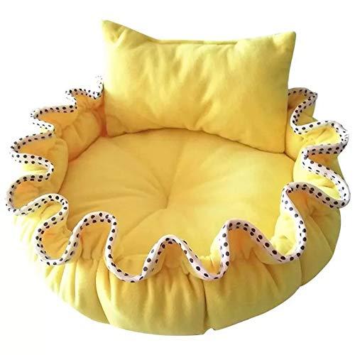 Générique bed prinses pompoen voor kleine honden en katten, met kussen, geel maat S