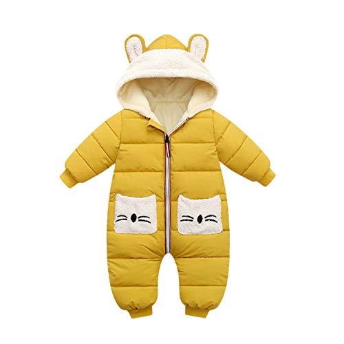 Strampler mit Kapuze für Baby Jungen Mädchen Winter Overall Baumwolle Jumpsuit Outfits Tasche Langarm Schneeanzug Geschenk 6-12 Monate,Gelb