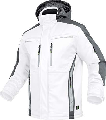 LEIB WÄCHTER Flex-Line Winter Softshelljacke Malerjacke weiß-grau mit abnehbarer Kapuze XS-5XL (L)