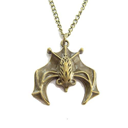Collar de plata de murciélago volador elige tu longitud collar de Drácula vampiro gótico batcueva batcueva collar vampiro (amarillo)