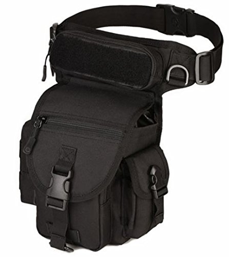 Di Grazia Nylon and Fabric Waist Bag Pack with Gear Military Type Tactical Drop Leg Panel Utility Pouch for 7.9-inch Tablet/PC (Black, 32x23x13 Cm)