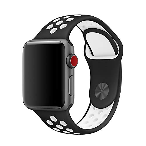 Pulseira Sport silicone furo NK para apple watch series 1/2/3/4 tamanho 42/44mm Preto/branco