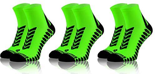 Sesto Senso Calze Corte Sportive Colorate Jogging Donna Uomo 3 Paia Cotone 43-47 Green