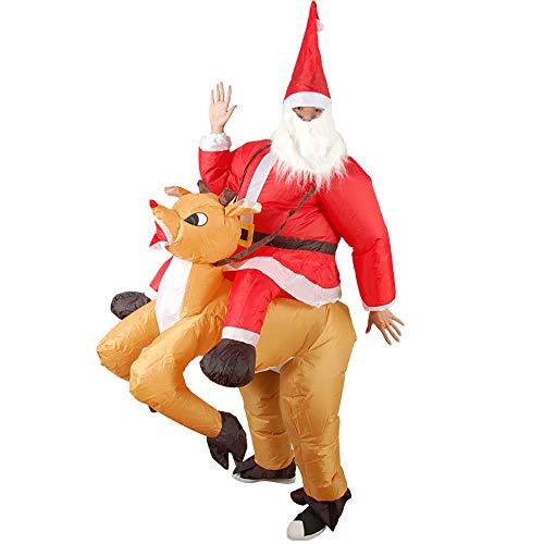 JFZCBXD Disfraces Trajes inflables de Juguete de Navidad Disfraces Rendimiento Riding Elk inflables de Marionetas Escenario para casa y Bar Partido