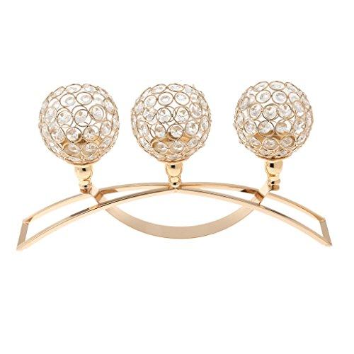 Sharplace Kristall Teelicht Lampe Kerzehalter Kerzenständer, Romantische Dekor - Gold