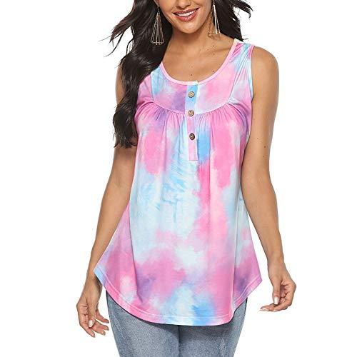 Mujer Verano 2020 Camisetas Top Tie-Dye Chaleco sin Mangas túnica Ropa de Mujer Verano Tamaño Grande S-2XL