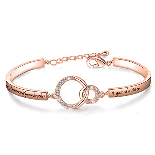Zuo Bao Sister in Law Gift Sister of The Groom Bracelet When I Married Your Brother I Gained A Sister Bracelet Sister in Law Wedding Jewelry (Gained A Sister RG)