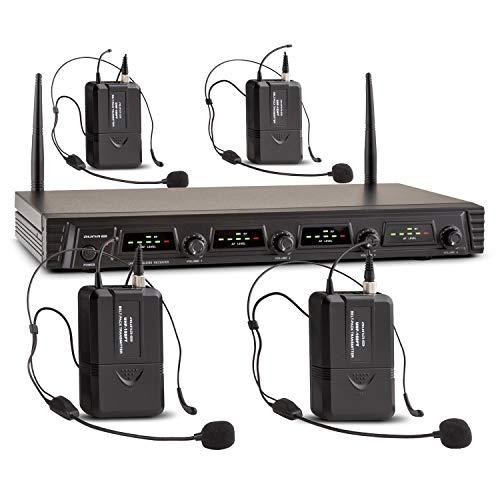 Malone Duett Quartett Fix V3-4-Kanal UHF-Funkmikrofon Set, Funk-Mikrofon System, 4 x kabelloses Headset-Mikrofon, 2 x XLR- und 1 x Klinken-Ausgang, integrierter Pop-Schutz, schwarz