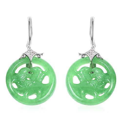 TJC Drop Dangle Green Jade Earrings for Women 925 Sterling Silver White Zircon, 44.875 Ct