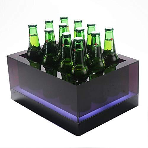 MAGFYLY Barril de Vino de Madera Cubo De Hielo LED Cubo De Hielo Rectangular - Resplandor Inferior - Batería Recargable - Bar, Discoteca, Fiesta (Color : 12bottles)