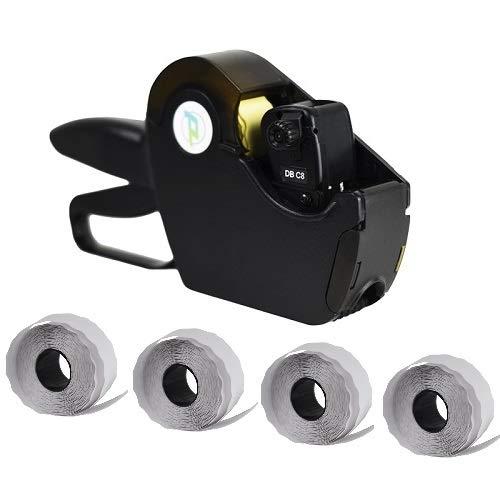 Virsus Prezzatrice macchina pistola etichettatrice a 8 caratteri e cifre con 1 linea di stampa + 4 rotoli da 1500 etichette con misura 26x12 etichetta adesiva segnaprezzo