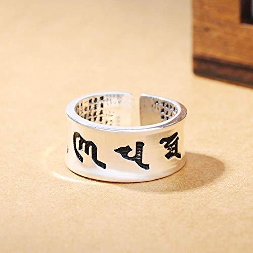 HDDWZH Woman Ring,Jahrgang 925 Sterling Silber Inschrift Ringe Für Mädchen Damen Größe Verstellbar Aussage Ring Hochzeit Schmuck Geschenk