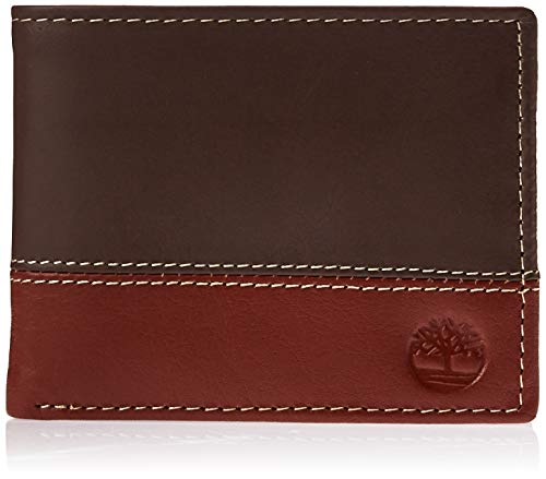 Timberland Men's Hunter Leather Passcase Wallet Trifold Wallet Hybrid, Brown/Cognac