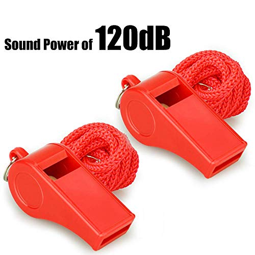 Fya Whistle, Red Emergency Whistle with Lanyard, 2PCS Super Loud...
