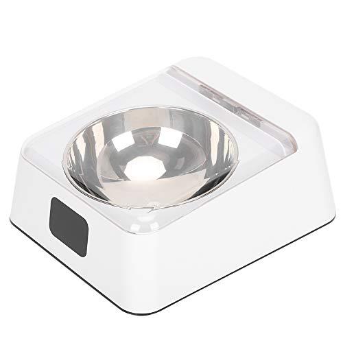 Asixxsix Tazón con Sensor de Infrarrojos, tazón Inteligente de plástico Blanco para Mascotas, Apertura automática para Evitar cucarachas Suministro de Mascotas con Tapa Protectora para Perro y Gato