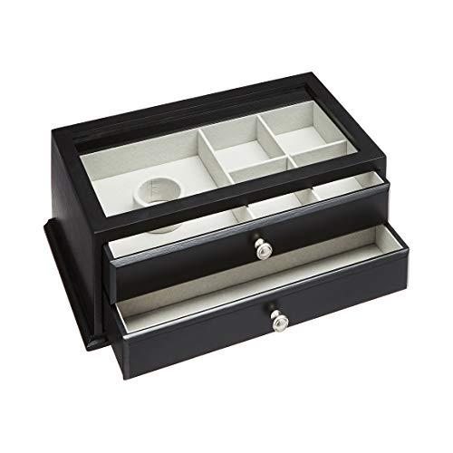Amazon Basics - Contenitore per gioielli e orologi, in legno, con coperchio in vetro e due cassetti, nero