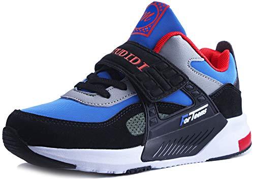Sneakers Enfant Baskets Montantes Garcon Chaussures de Course Mode Garcon Fille Sport Running Shoes Competition Entrainement,30 EU,Bleu Noir