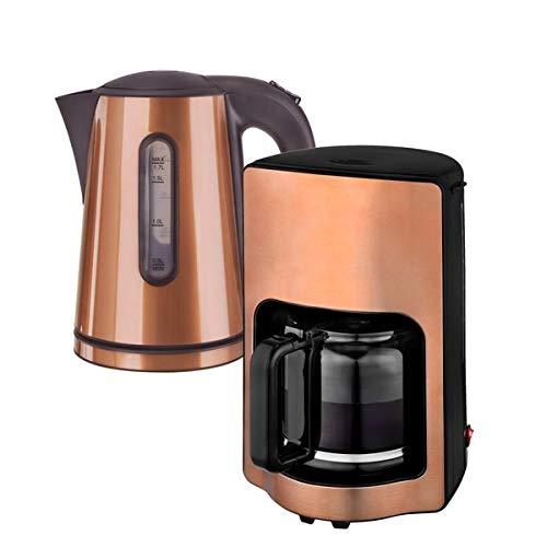 Kalorik Frühstücksset JK 1200 + CM 1220 Wasserkocher 1,7 L und Kaffeemaschine 1,9 L Havanna kupfer-braun