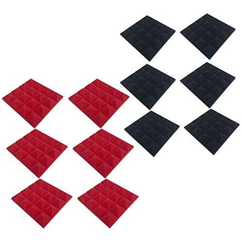 QIMANZI 24 Akkustik Platten Akustikschaumstoff Fliesen Dämmung Wanddeko Pyramiden Noppenschaumstoff Breitbandabsorber Decke Foam Feuerhemmend 25x25x5cm Rot Schwarz