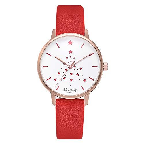 Reloj analógico de Cuarzo para Mujer con diseño de Estrellas y Correa de Piel sintética