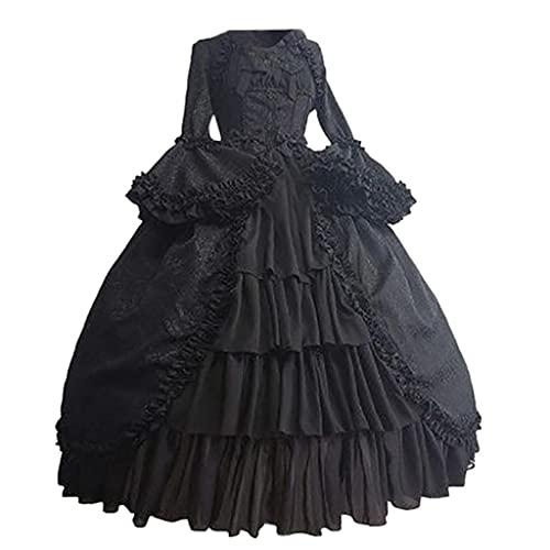 Vestido medieval para mujer, gótico, steampunk, vintage, renacimiento, palacio, princesa, maxivestido, boda, carnaval, fiesta, disfraz, Halloween, festivales, cosplay, princesas, Lolita, 1 negro, S