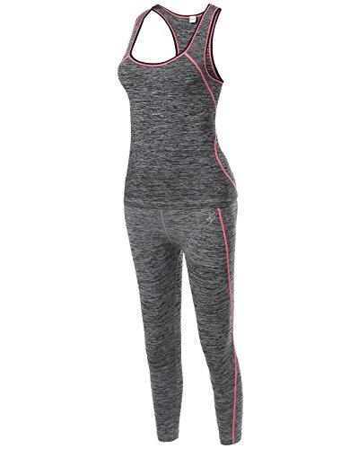 Sports Yoga Workout Training Set Top Capri Leggings Neon Yellow LXL