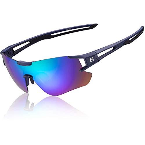 ROCKBROS Fahrrad Polarisierte Brille Rahmenlos Sonnenbrille Damen Herren Sportbrille für Radsport Skifahren Angeln Golf Rot/Blau