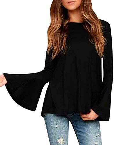HaiDean dames ronde hals blouse luidspreker hemd sweatshirt tops mouwen jongens chic effen T-shirt bovenstuk vrouwen