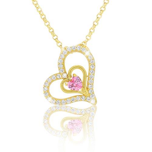 PAVEL UZS halsketting ketting met harthanger Lovely roze 18 karaat goud geplatteerd met roze zirkonia voor verloving partner beste vriendin in AAA kwaliteit incl. sieradendoos en echtheidscertificaat