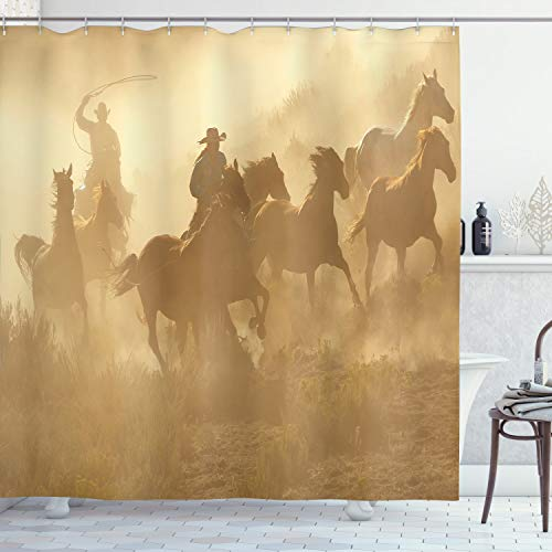 "Ambesonne Western Shower Curtain, Galloping Running Horses in Desert 2 Cowboys Roping Dusty Wild Rural Countryside, Cloth Fabric Bathroom Decor Set with Hooks, 84"" Long Extra, Pale Brown"