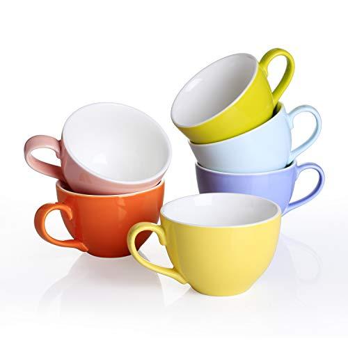 Panbado, 6er Set Porzellan Tassen, 375 ml Kaffeetasse, Becherset, Kaffeebecher-Set, Frühstück Mug, Teetasse in 6 Farben für Geschirr Tafel-Zubehör