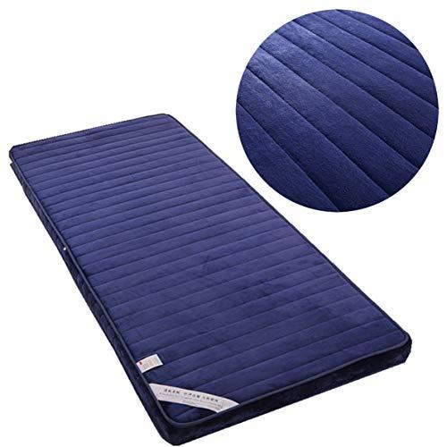Balapig Futon Easy Colchón Transpirable Cama de Invitados, Colchon Viaje Memory Foam Funda de Algodón Lavable,Azul,71inX78in